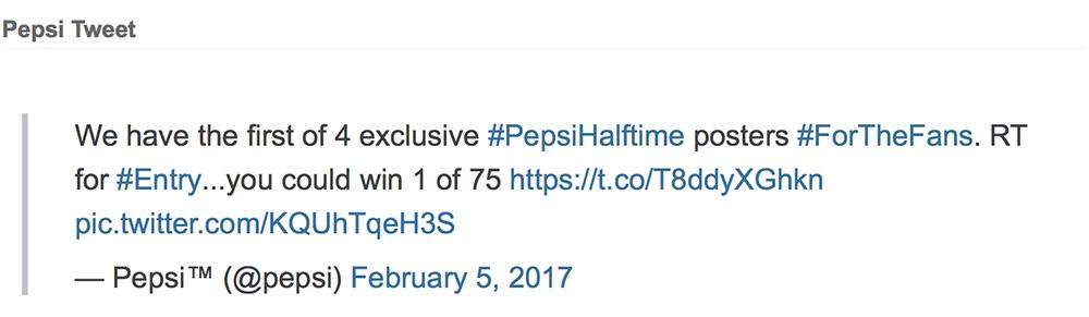 Pepsi Tweet